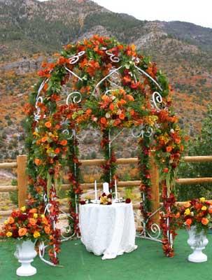 Floral arbor from wedding at The Resort on Mt Charleston Las Vegas